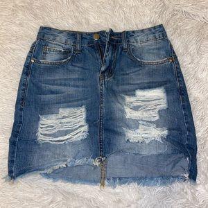 Distressed Mini Jean Skirt